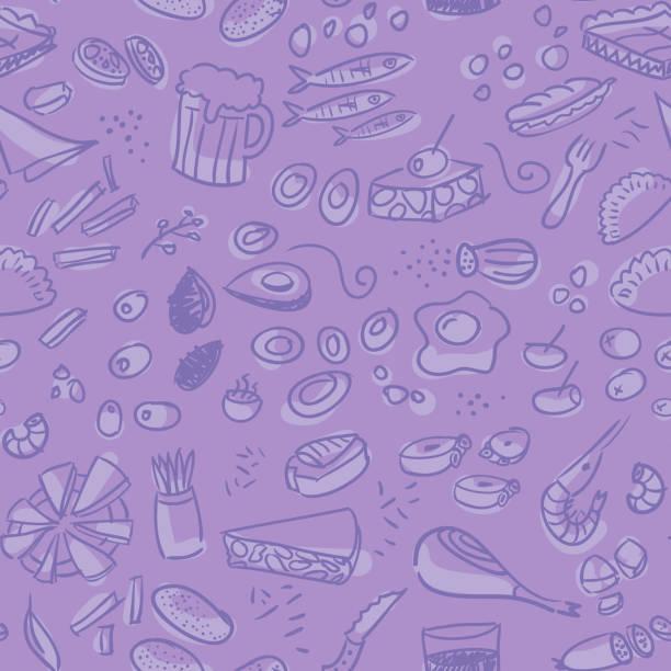 Tapas und Vorspeisen Hand gezeichnete nahtlose Muster – Vektorgrafik