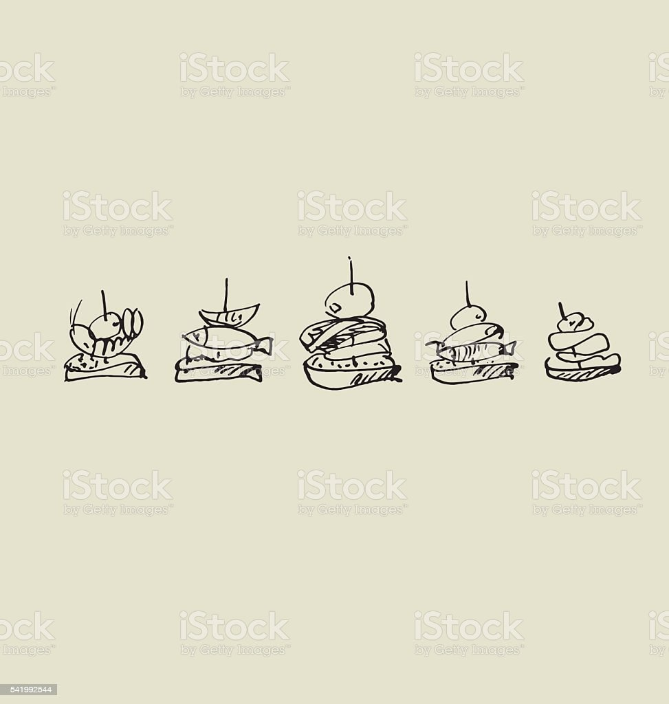 tapas and canape image set. vector art illustration