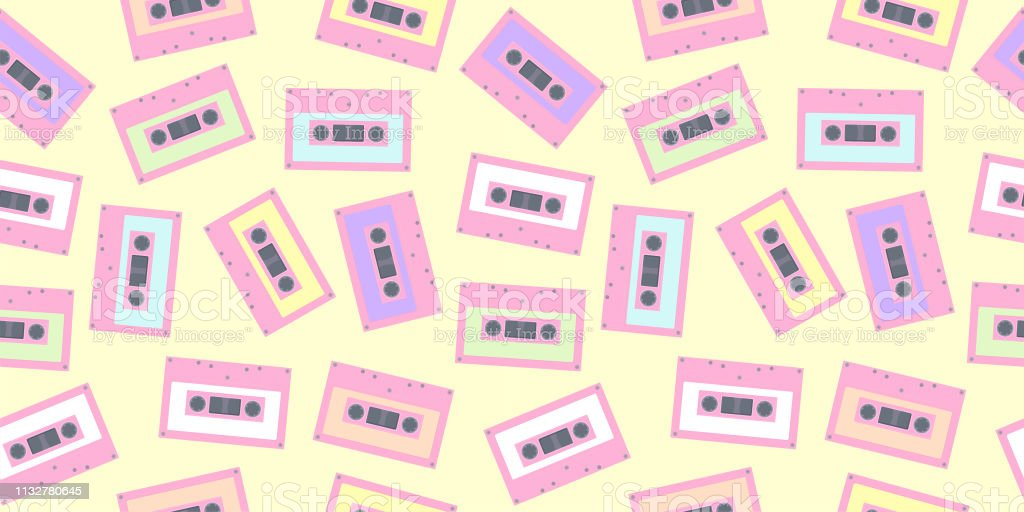 Tape Cassette Pattern Seamless In Pastel Color Cute Colorful Tape Background For Fabric Print Wallpaper Textile Wrapping Paper Party Poster Banner And Card Design Stock Illustration Download Image Now Istock