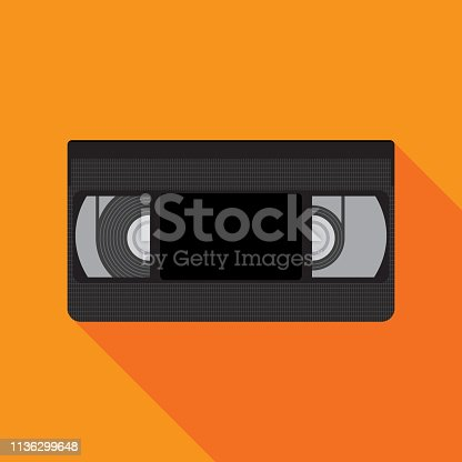 Vector illustration of a VHS tape against an orange background in flat style.