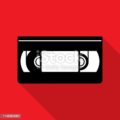 Vector illustration of a red VHS tape icon in flat style.