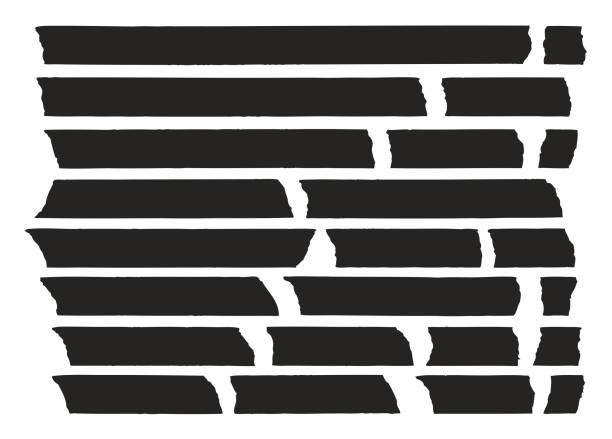 ilustrações de stock, clip art, desenhos animados e ícones de tape lines black set 01 - tape