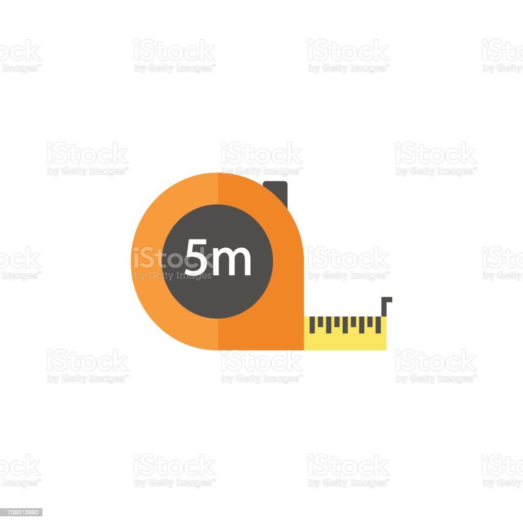 Tape measure flat icon, build repair elements