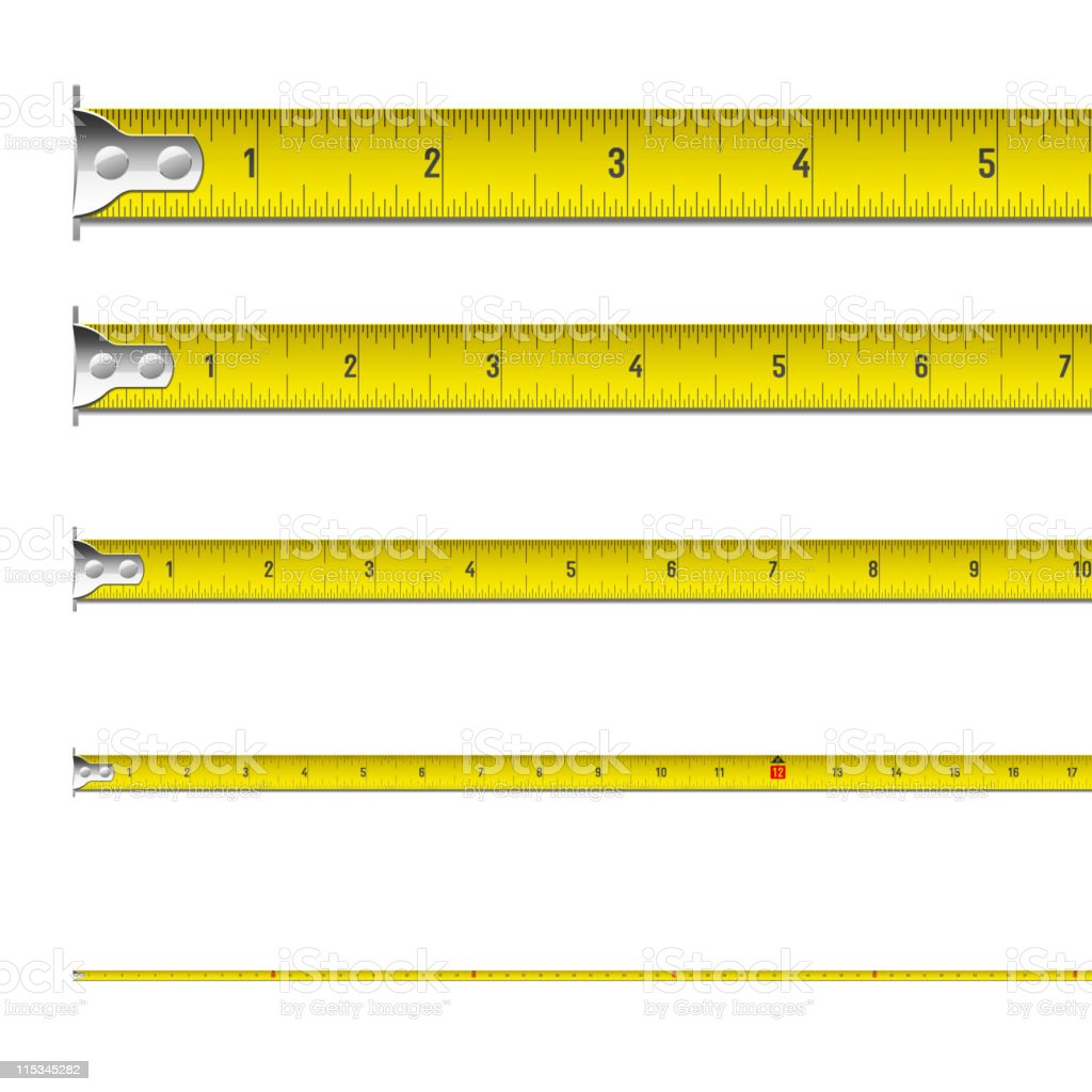 Tape measure in inches royalty-free stock vector art
