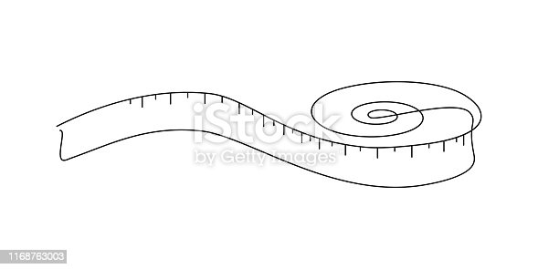 Tape measure in line art drawing style. Flexible ruler black line sketch on white background. Vector illustration
