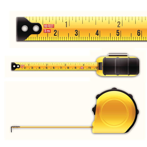 Tape Measure Tape measure from various angles. EPS 10 file. Transparency used on highlight elements. meter instrument of measurement stock illustrations