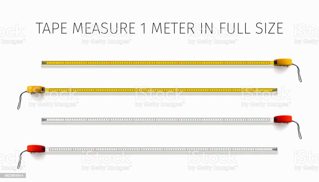 Tape measure. Yellow and red roulette 1 meter in real size