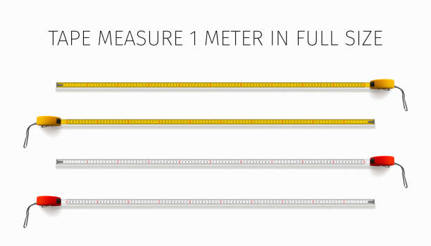 Tape measure. Yellow and red roulette 1 meter in real size vector art illustration