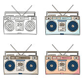 Tape recorder for audio cassettes, Cassette recorder outline and color illustration vector
