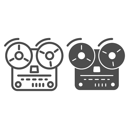 Tape recorder line and solid icon, Music concept, Old reel tape recorder sign on white background, open reel tape deck recorder icon in outline style for mobile concept and web design. Vector graphic.