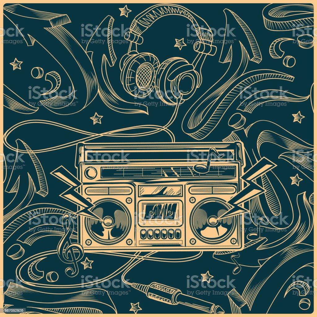 Tape recorder on graffiti background vector art illustration