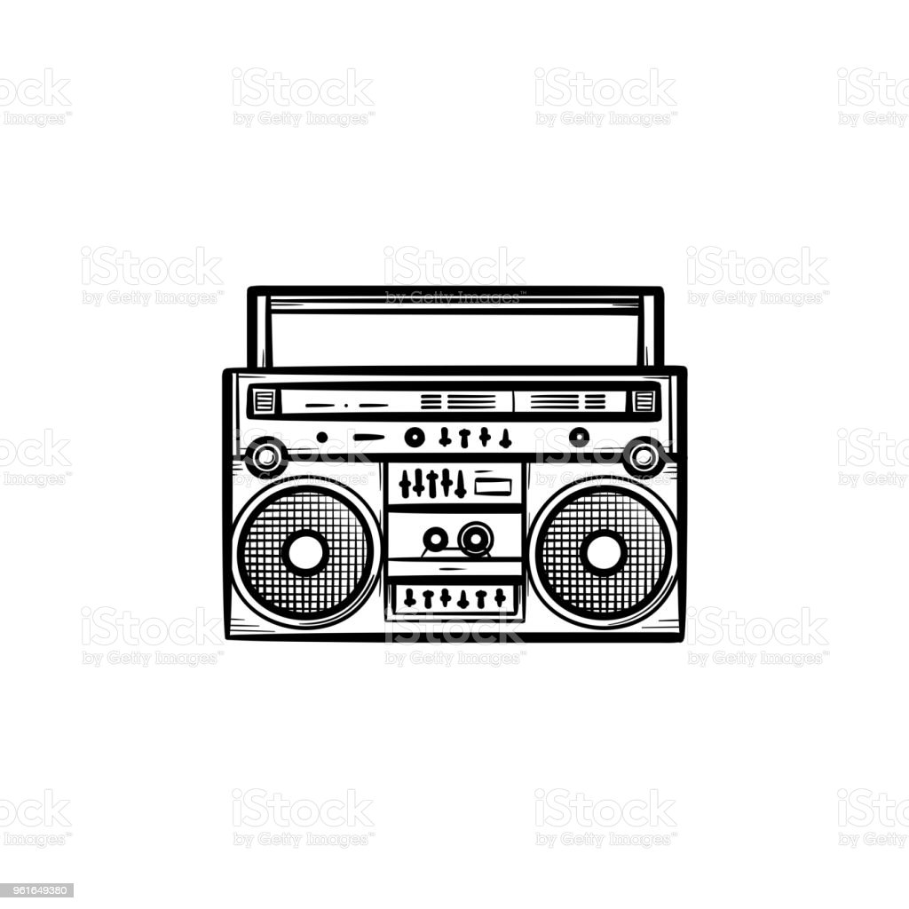 Tape recorder with radio hand drawn outline doodle icon