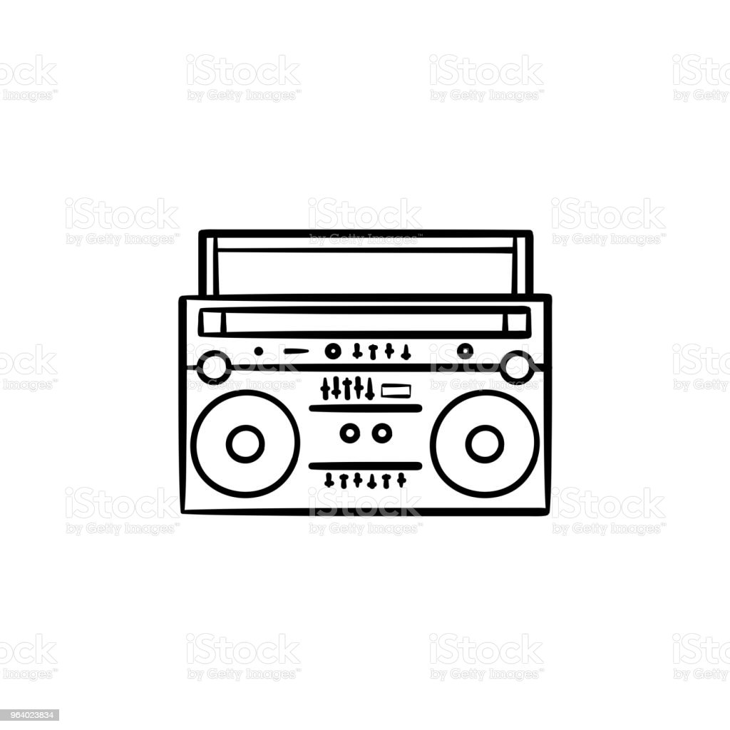 Tape recorder with radio hand drawn outline doodle icon - Royalty-free Adhesive Tape stock vector
