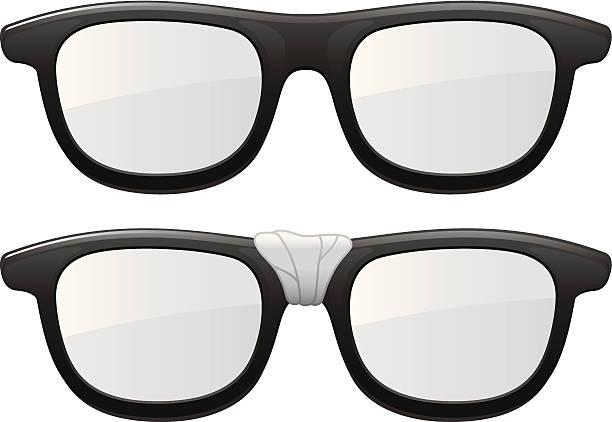 Taped Glasses Taped Glasses nerd stock illustrations
