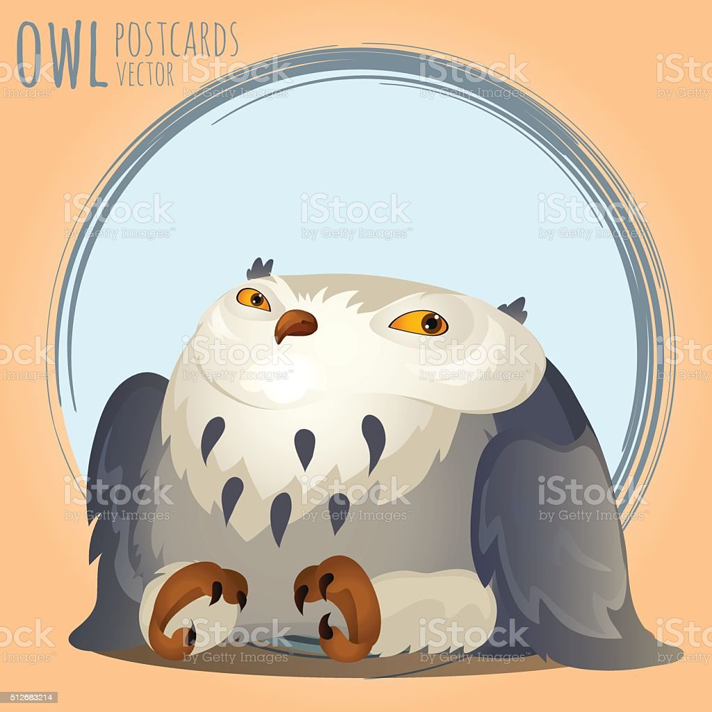 Tapered grey owl, vector cartoon series vector art illustration