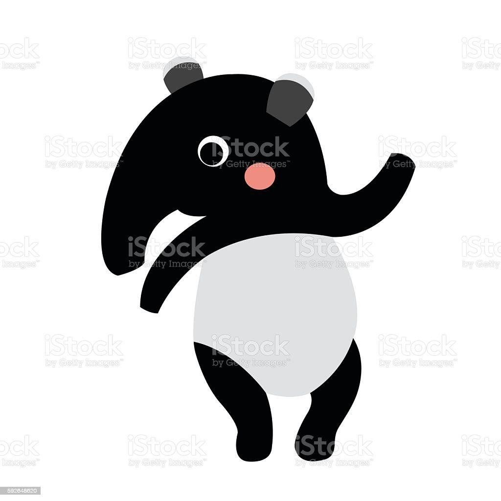 Tapir standing on two legs animal cartoon character vector illustration. vector art illustration