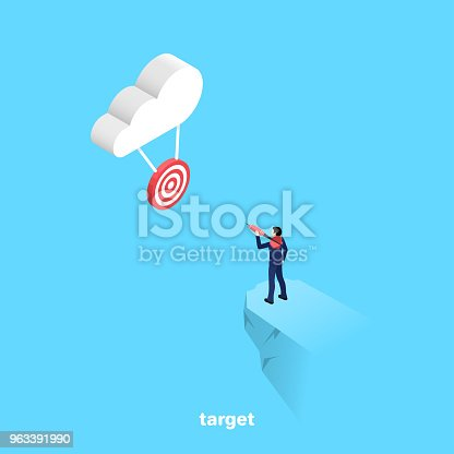 a man with a dart is going to make a sighting throw on the target hanging on the cloud, an isometric image