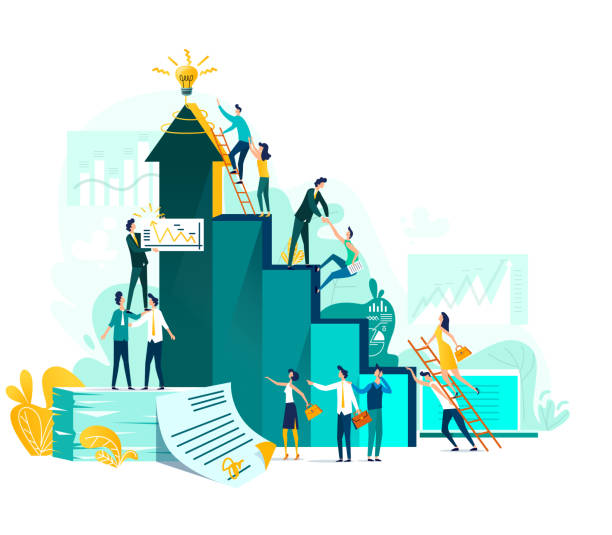 Target achievement and teamwork business concept Goal achievement and teamwork business concept, career growth and cooperation for development of project, idea vector flat cartoon illustration. Ladder of success and climbing people, company staff climbing stock illustrations