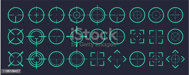 Target aim and aiming to bullseye signs symbol. Creative vector illustration of crosshairs icon set isolated on transparent background. Art design. Vector illustration 10 eps.
