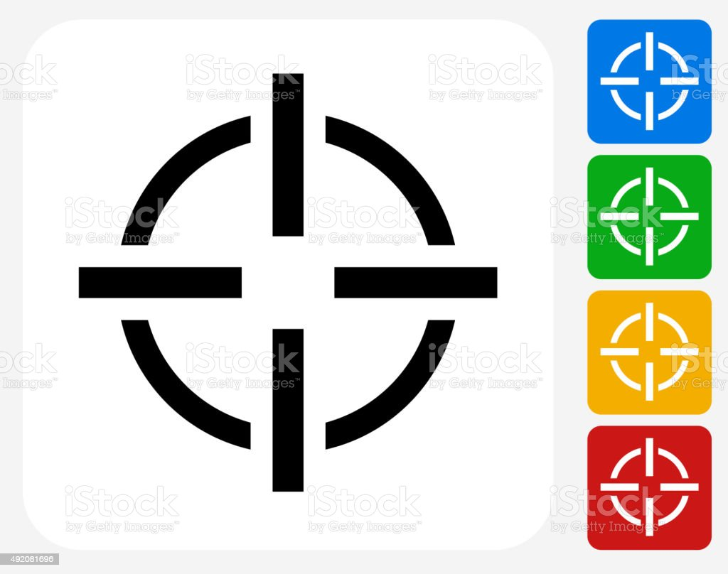 Target Aim Icon Flat Graphic Design vector art illustration