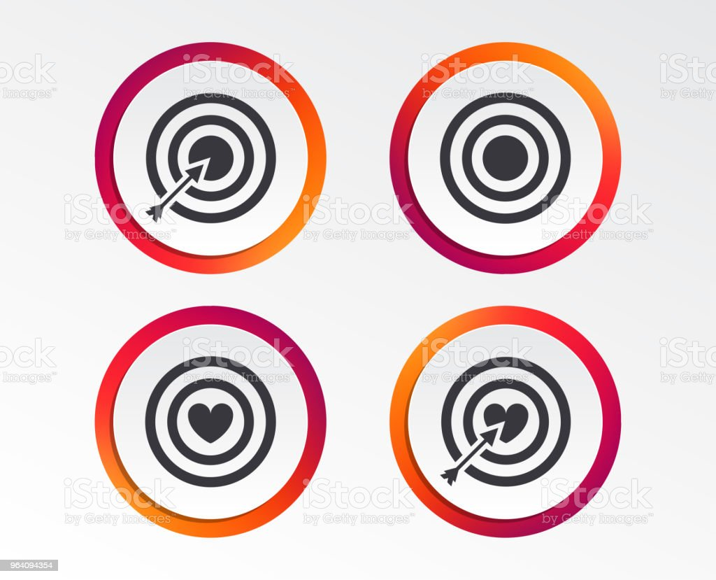 Target aim icons. Darts board signs symbols. - Royalty-free Accuracy stock vector