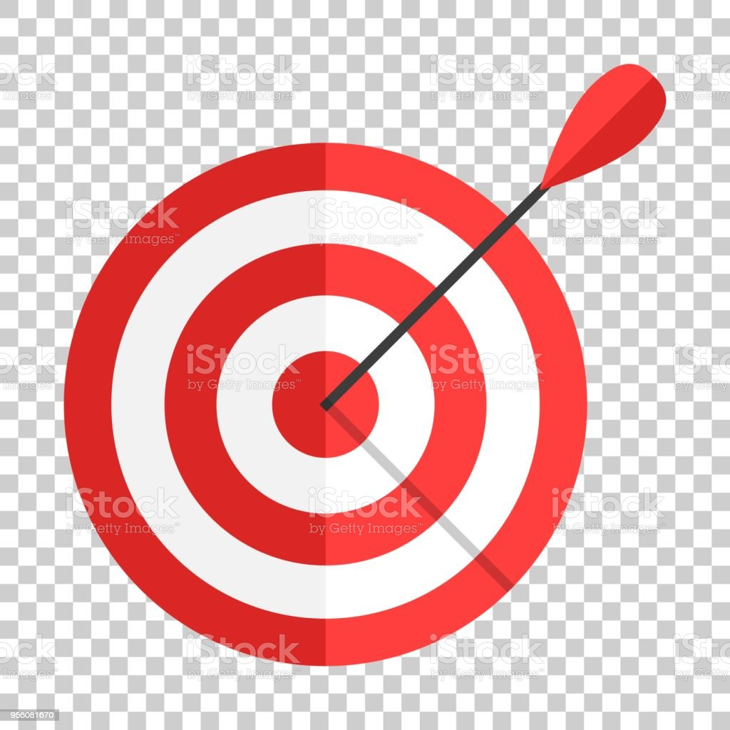 Target Aim Vector Icon In Flat Style Darts Game Illustration On Isolated Transparent Background