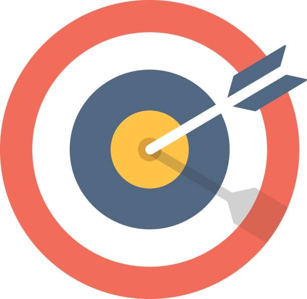 Icono de flecha y el blanco. Símbolo de Diana. Ilustración gráfica de moderno diseño plano. Icono de vector blanco y flecha - ilustración de arte vectorial