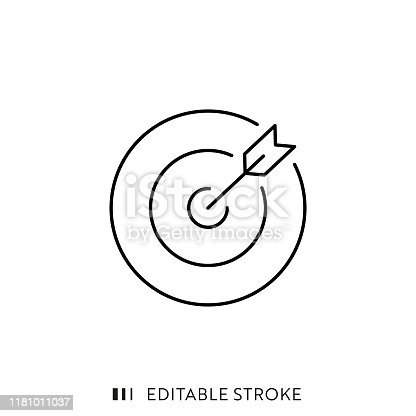 istock Target and Arrow Icon with Editable Stroke and Pixel Perfect. 1181011037