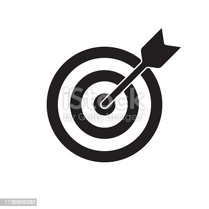 istock Target and arrow vector icon. Dartboard shoot, business aim and target focus symbol 1136956393