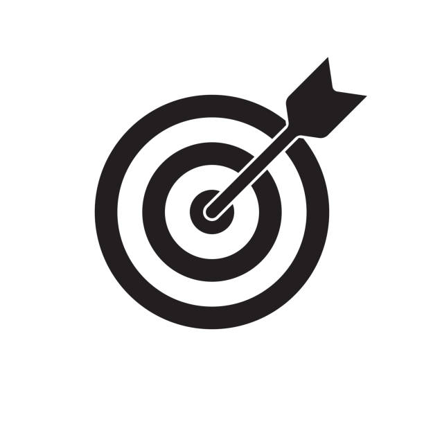 Target and arrow vector icon. Dartboard shoot, business aim and target focus symbol Target and arrow vector icon. Dartboard shoot, business aim and target focus symbol pointing stock illustrations