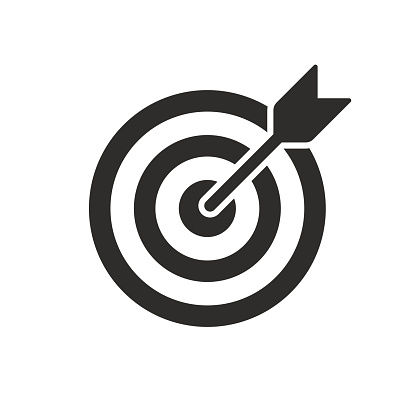 Target and arrow vector icon. Dartboard shoot, business aim and target focus symbol stock illustration
