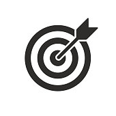 istock Target and arrow vector icon. Dartboard shoot, business aim and target focus symbol stock illustration 1189106364