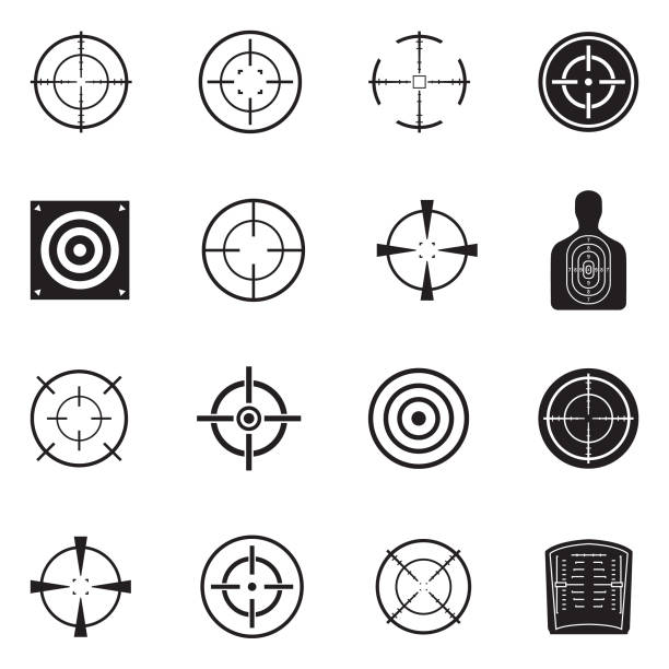 Target And Crosshair Icons. Black Flat Design. Vector Illustration. Different Crosshair Illustrations pistol stock illustrations