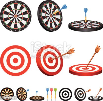 illustration of target and dartboard with 2 different color for your design and products.