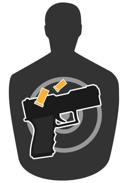 Target and Gun vector art illustration