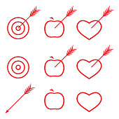 Target, apple, heart with arrow. Collection of aim icons.