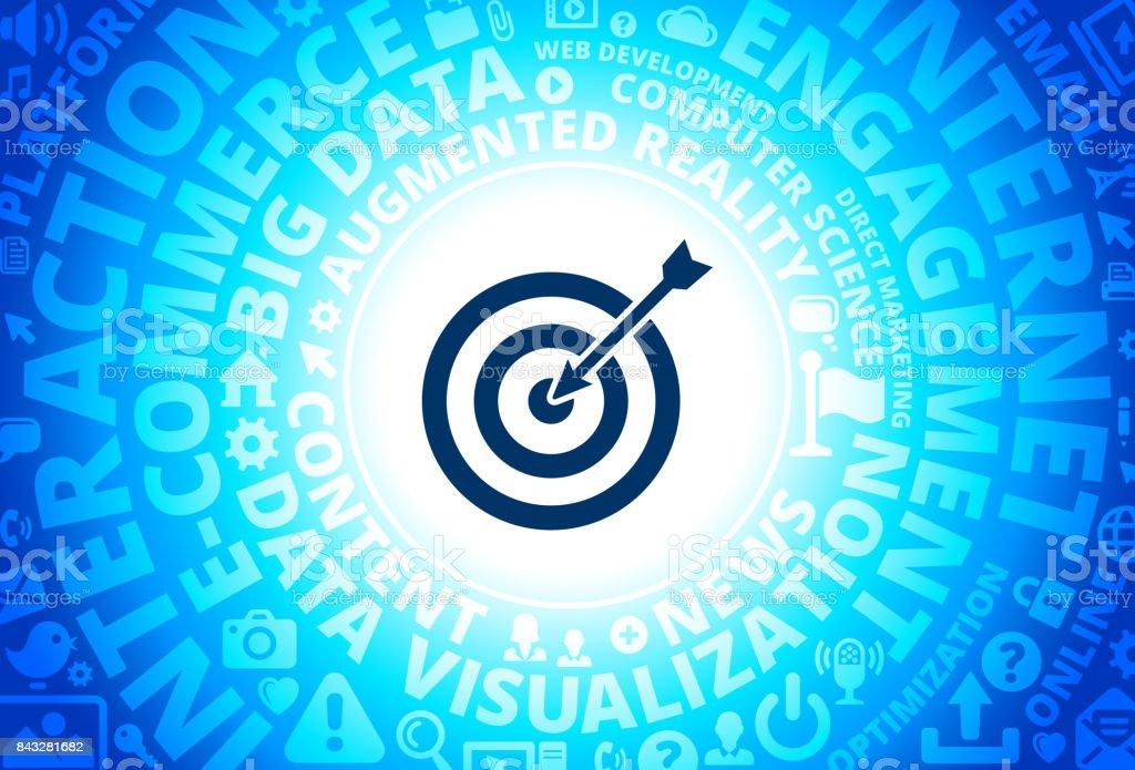 Target & Arrow Icon on Internet Modern Technology Words Background vector art illustration