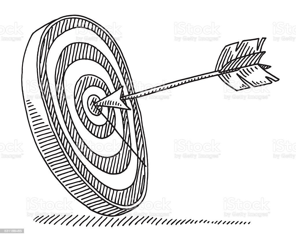 Target Arrow Success Drawing vector art illustration