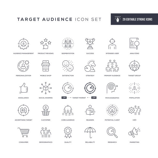 Target Audience Editable Stroke Line Icons 29 Target Audience Icons - Editable Stroke - Easy to edit and customize - You can easily customize the stroke width anticipation stock illustrations