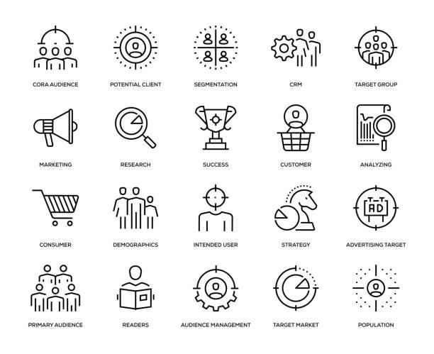 ilustrações, clipart, desenhos animados e ícones de conjunto de ícones de público alvo - consumismo