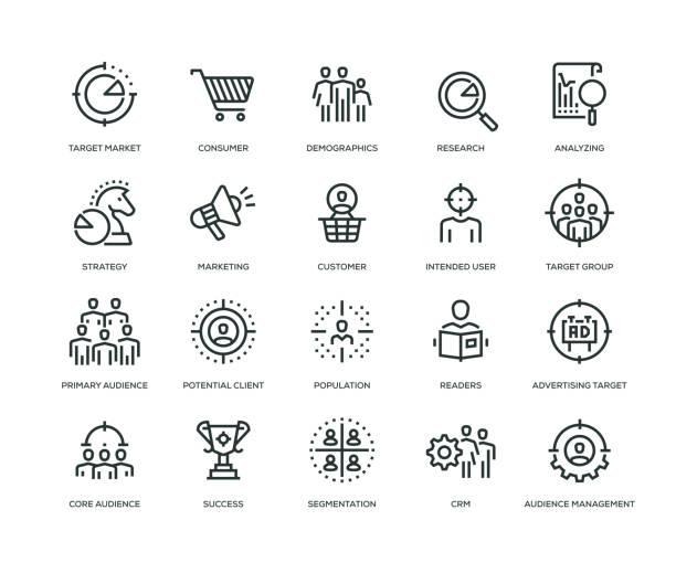 ziel publikum icons - line serie - megaphone stock-grafiken, -clipart, -cartoons und -symbole