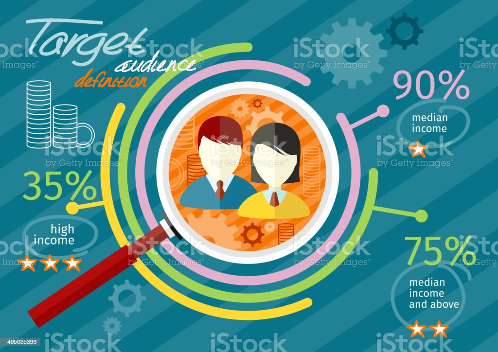Target audience infographic vector art illustration