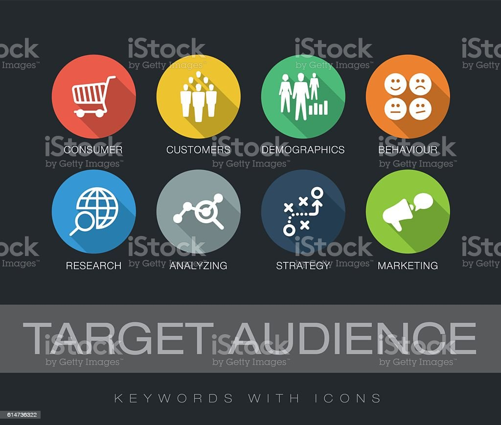 Target Audience keywords with icons vector art illustration