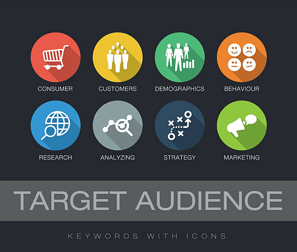 target audience keywords with icons - demographics infographics stock illustrations, clip art, cartoons, & icons