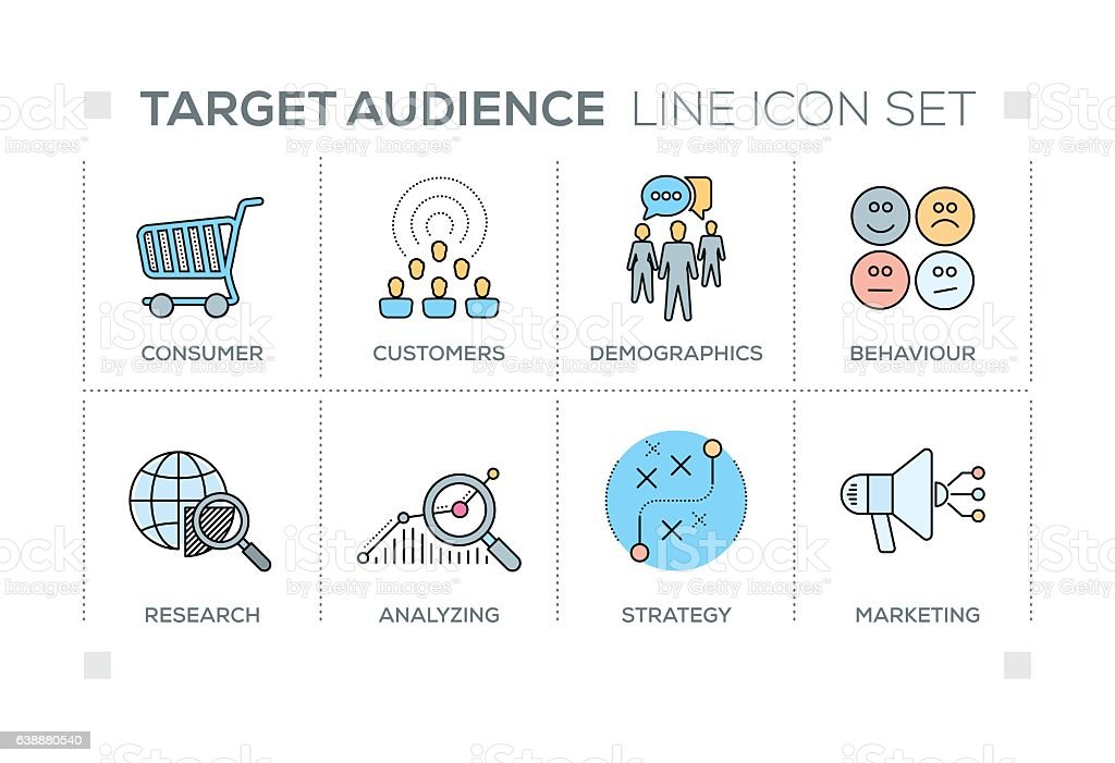 Target Audience keywords with line icons vector art illustration