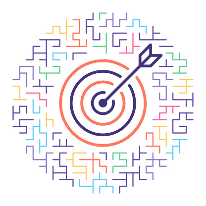 Line vector icon illustration of target audience with maze background.
