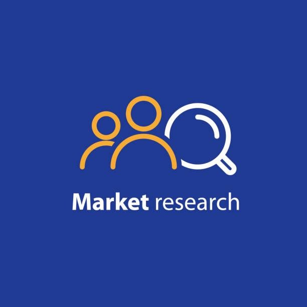 illustrazioni stock, clip art, cartoni animati e icone di tendenza di target audience, marketing research, public relations concept, line icon - focus group