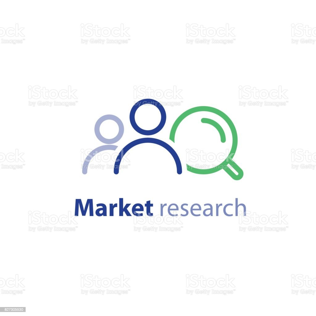 Target audience, marketing research, public relations concept, line icon vector art illustration