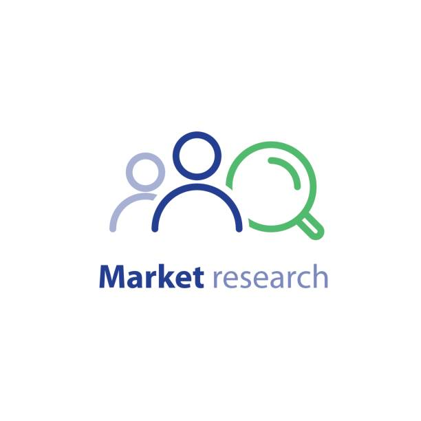 ilustraciones, imágenes clip art, dibujos animados e iconos de stock de público objetivo, marketing research, concepto de relaciones públicas, icono de la línea - logotipos de investigación