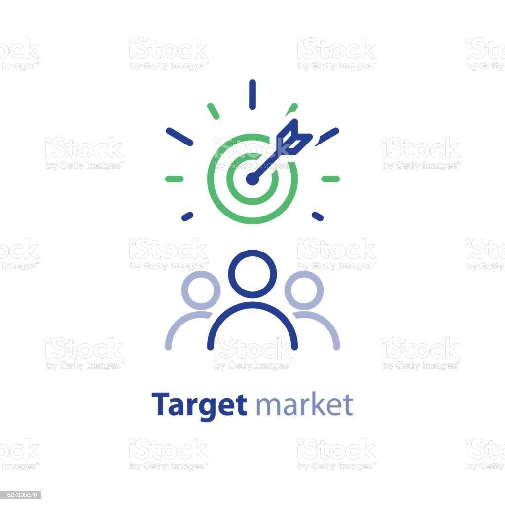 Público objetivo, marketing research, concepto de relaciones públicas, icono de la línea - ilustración de arte vectorial
